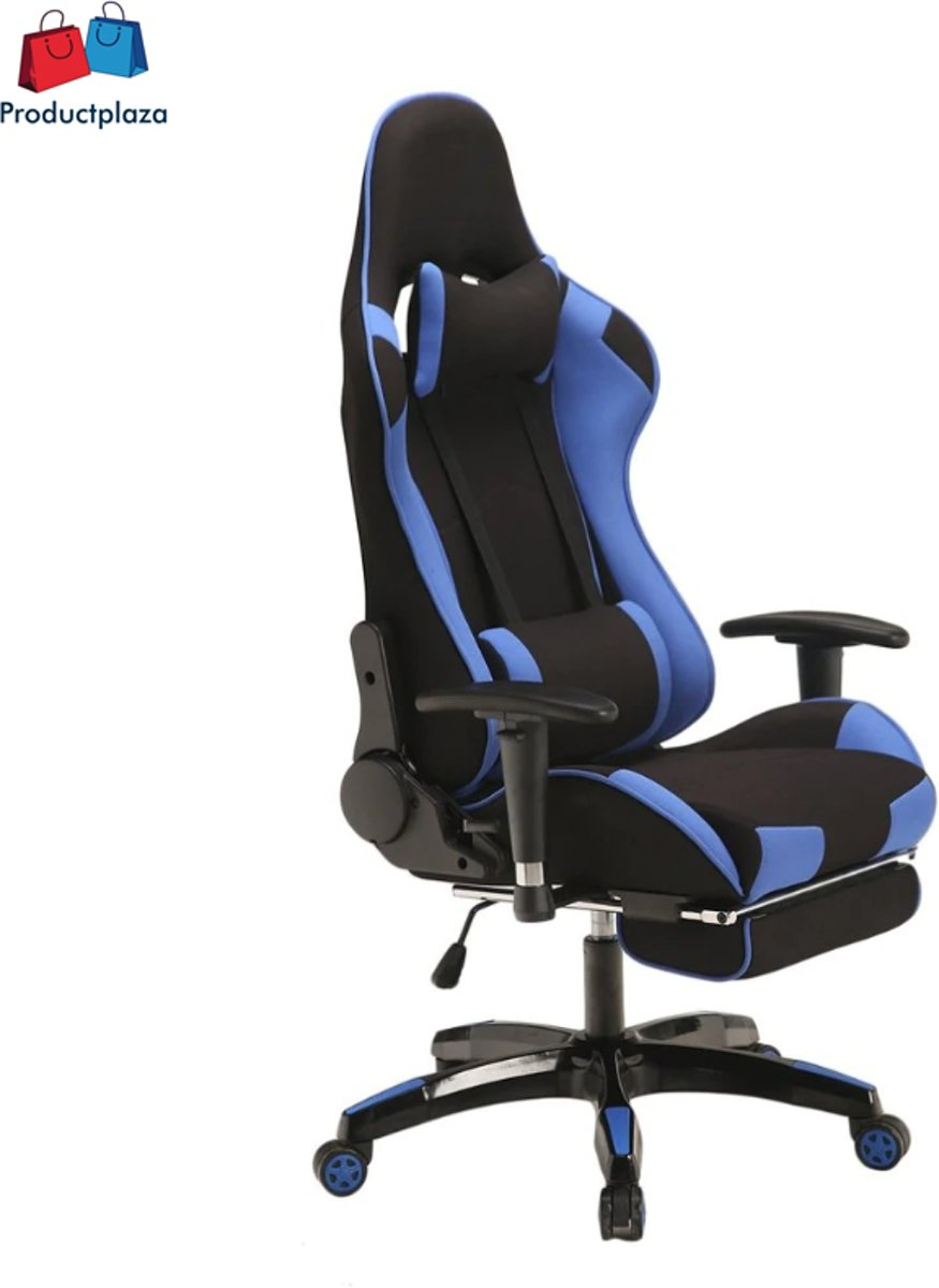Gaming chair met voetsteun, hoogte verstelbaar, ergonomisch, belastbaar tot 150 kg, zwart/blauw kopen