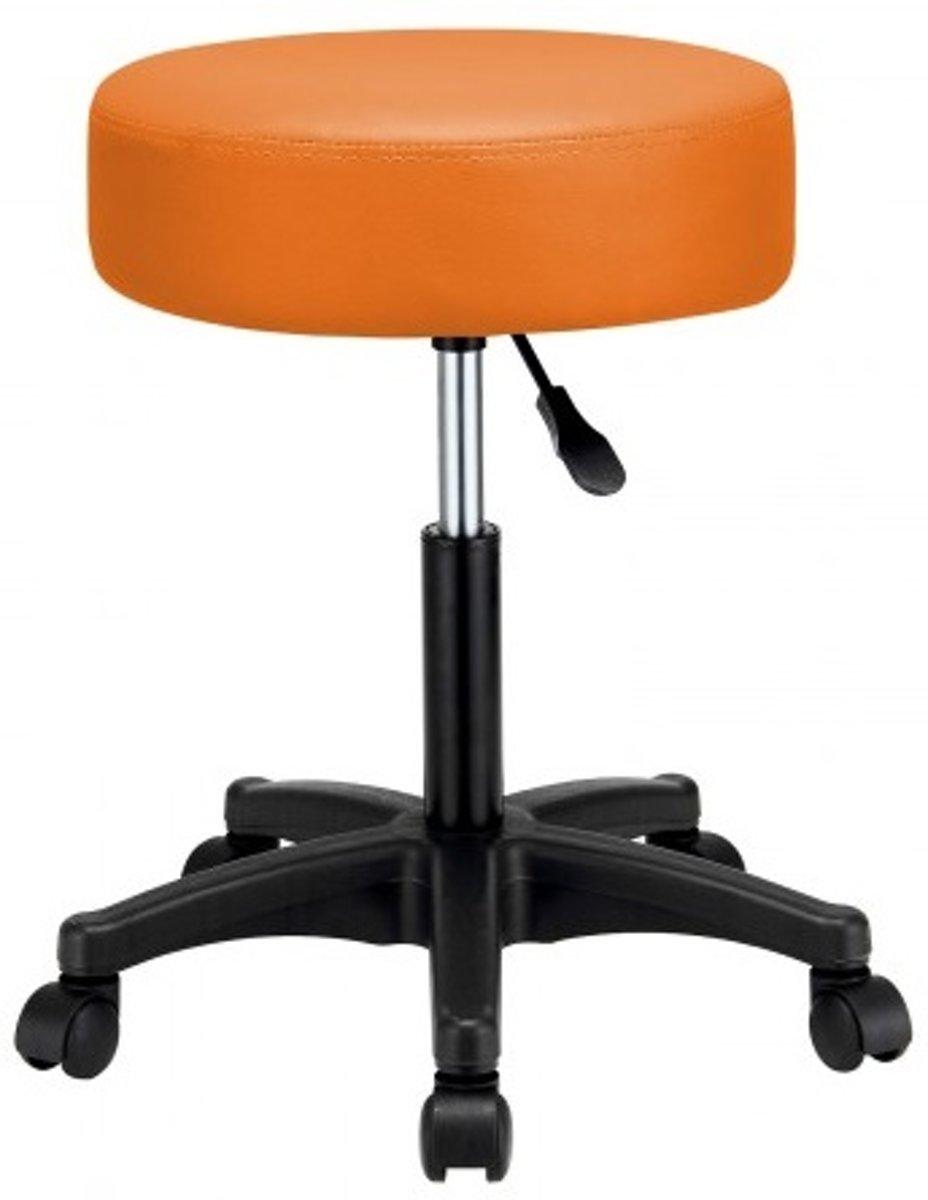 Monzana Bureaustoel - draaistoel - kruk - met - gestoffeerde - zitting - in - oranje kopen