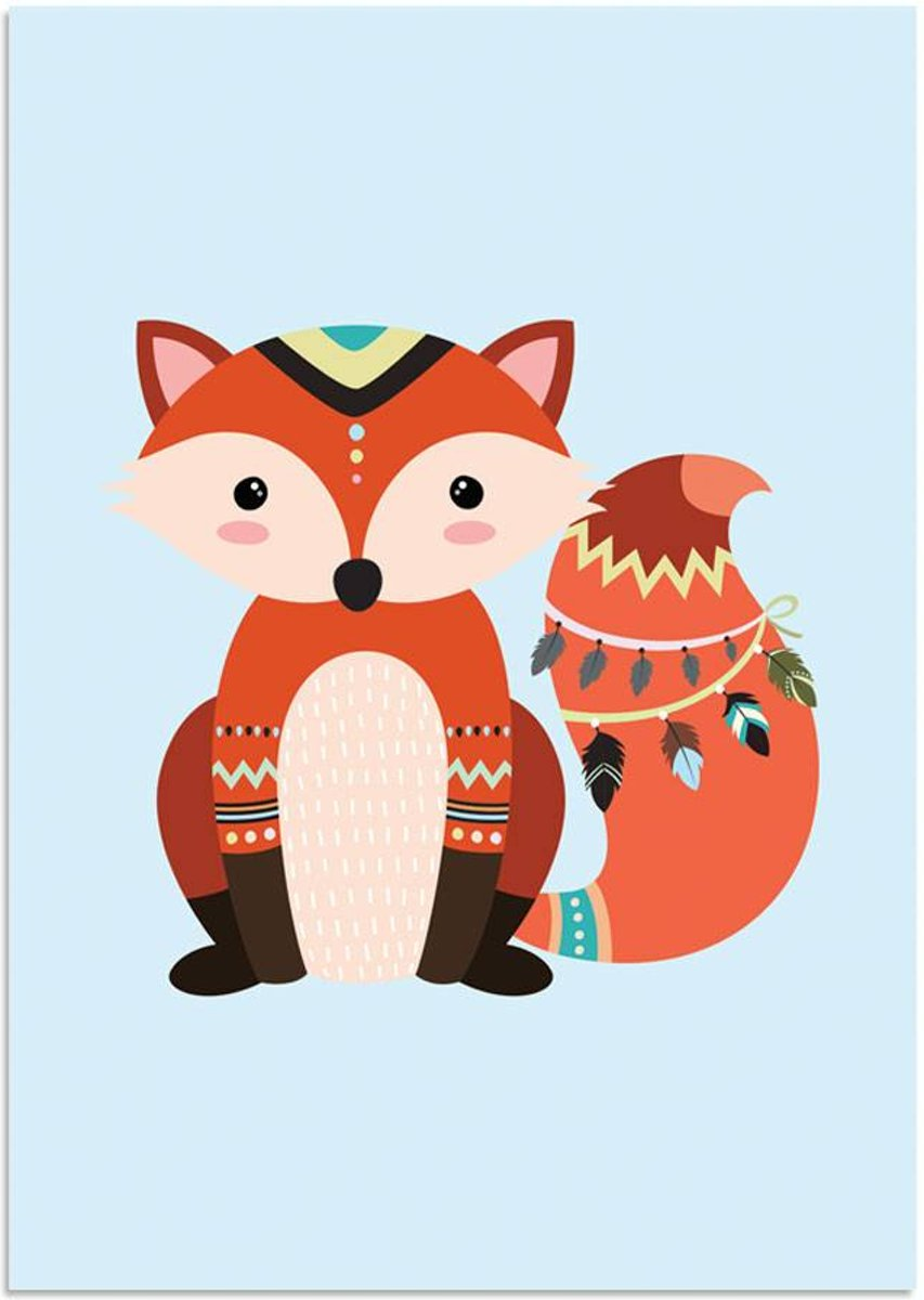 Kinderkamer poster Vosje DesignClaud - Indianen Stijl Kleurrijk - A4 + fotolijst wit kopen