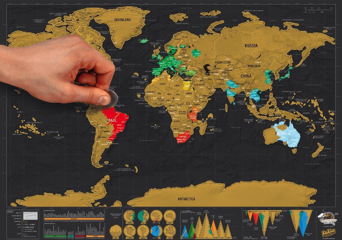 Luckies Kras Wereldkaart - Scratch Map Deluxe - Reiseditie kopen