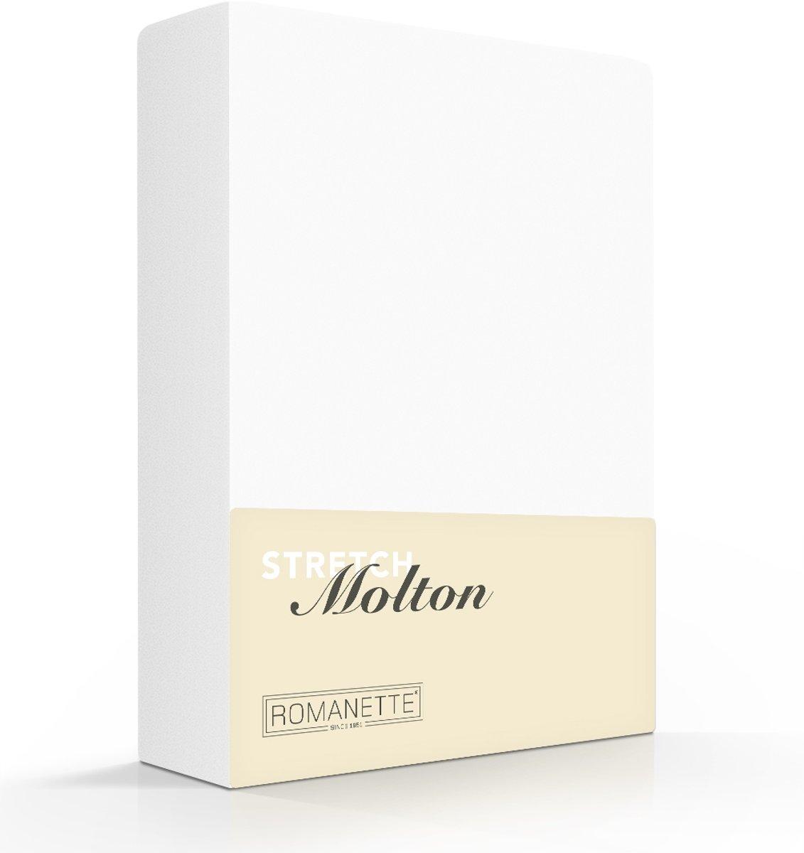 Romanette molton stretch hoeslaken - Wit - 2-persoons (130/140/150x200/220 cm) kopen
