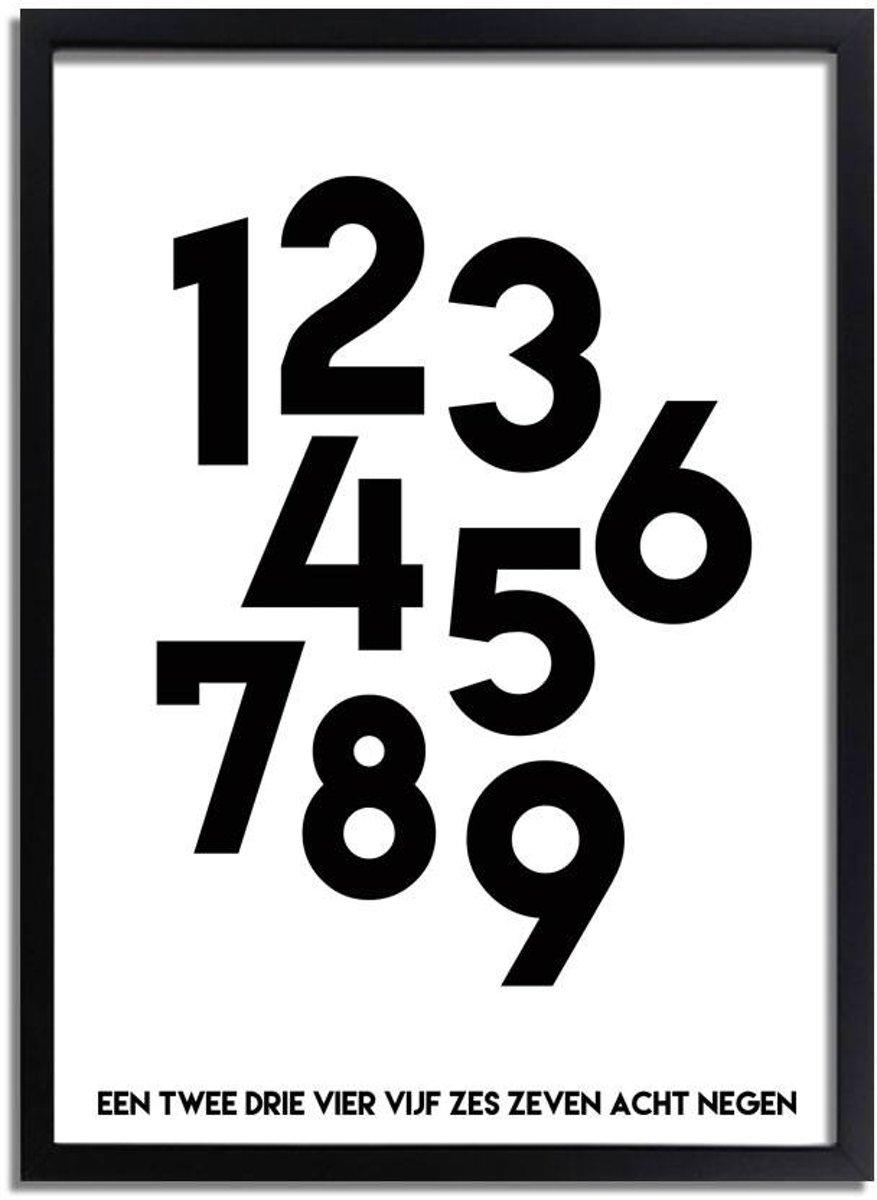 Kinderkamer poster Nummers DesignClaud - Zwart wit - A2 + Fotolijst zwart kopen