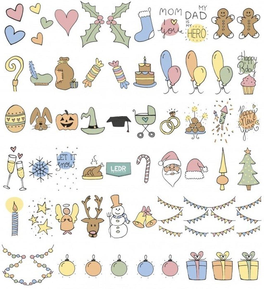 Deco A6 lichtbak/lightbox feestdagen emoticons 60 stuks kopen
