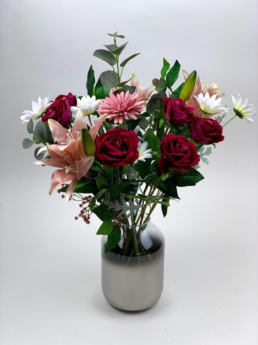Zijde kunstbloemen boeket – 60 cm hoog – roze - rozen lelie kopen