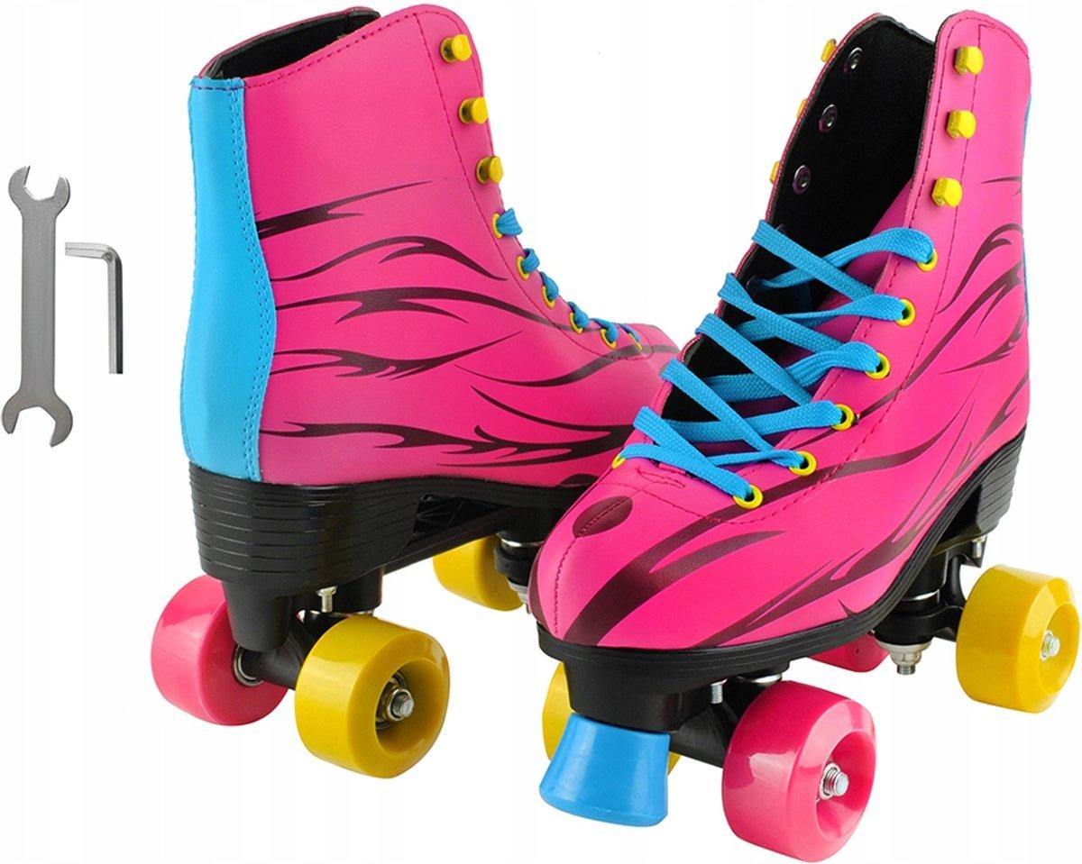 Rolschaatsen Set - Roller Skates Wheels - Kinder Rol Schaatsen Meisjes - Skates Roze Maat 37 kopen