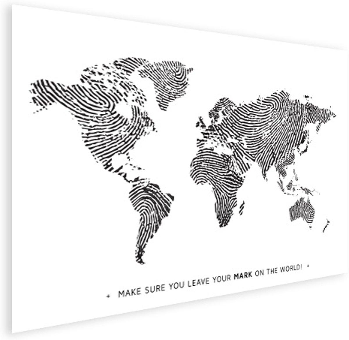 Wereldkaart vingerafdruk zwart wit met tekst poster 90x60 cm - Wereldkaarten.nl kopen