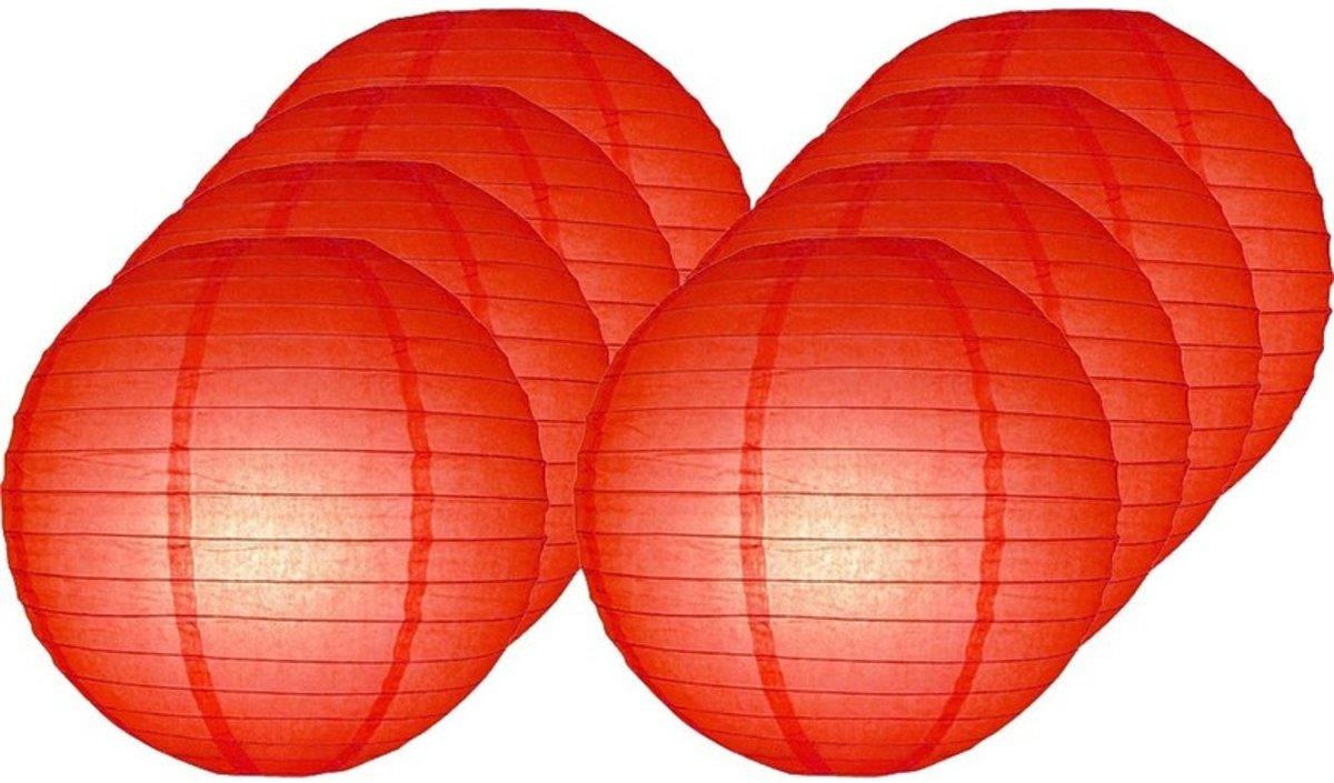 8x Luxe bol lampionnen rood 25 cm - Feestversiering/decoratie
