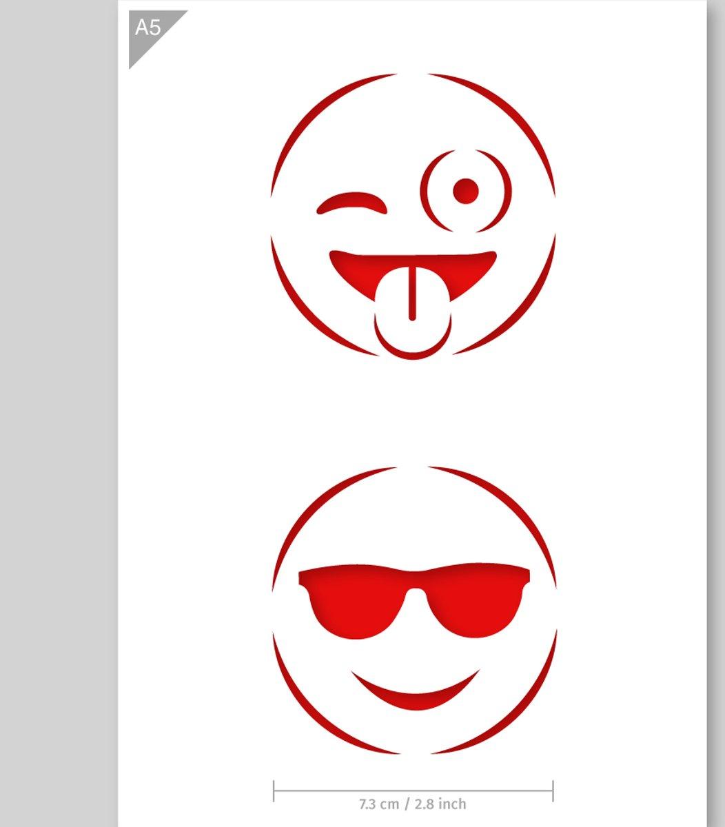 Emoji Sjabloon - Kartonnen A5 stencil - Knipoog & zonnebril emoji - Kindvriendelijk sjabloon geschikt voor graffiti, airbrush, schilderen, muren, meubilair, taarten en andere doeleinden kopen