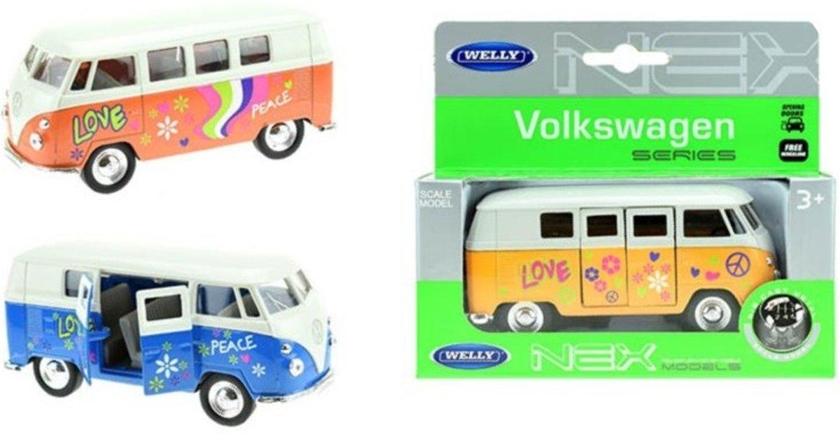 3 x VW Volkswagen T1 bus Flower Power - Welly 1:34