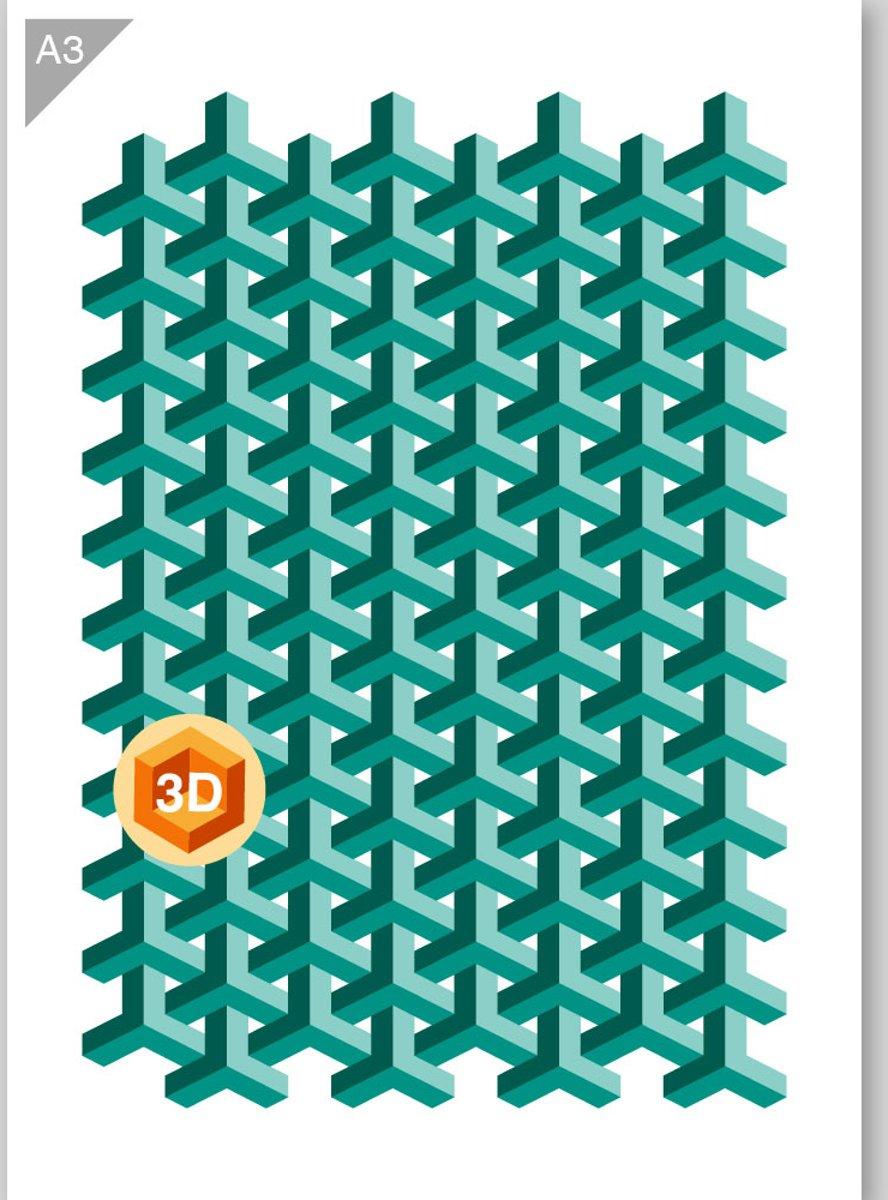 Visnet patroon sjabloon - 3 lagen (3D effect) kunststof A3 stencil - Kindvriendelijk sjabloon geschikt voor graffiti, airbrush, schilderen, muren, meubilair, taarten en andere doeleinden kopen