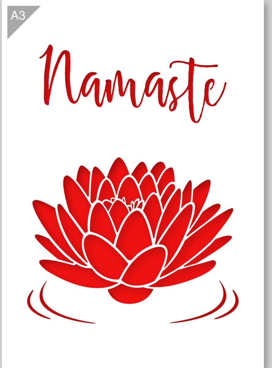 Namasté sjabloon - Lotus sjabloon - Kunststof A3 stencil - Kindvriendelijk sjabloon geschikt voor graffiti, airbrush, schilderen, muren, meubilair, taarten en andere doeleinden kopen