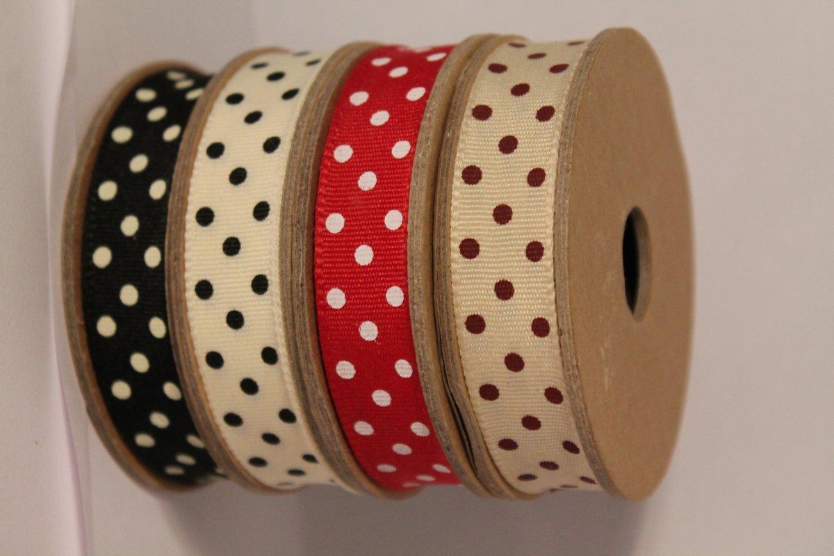 set van 4 lintjes ribbon bandjes polka dot rood wit polka dot zwart wit kopen