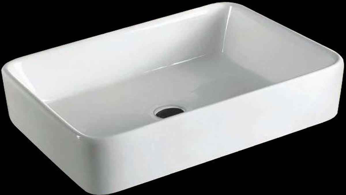Bol.com waskom opbouw vlak rechthoek 60x34x11cm keramiek glans wit