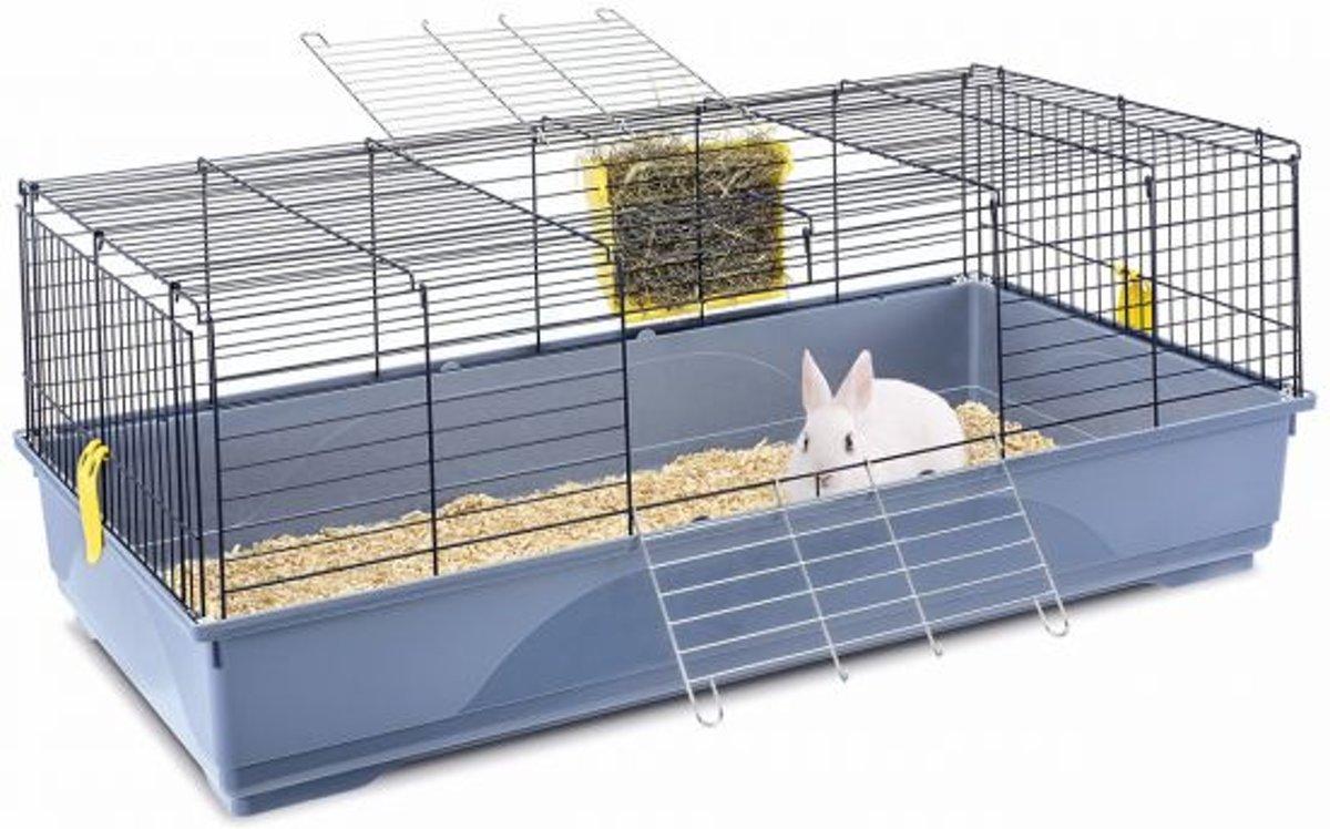 Imac konijnenkooi easy blauw / zwart 120x60x46,5 cm