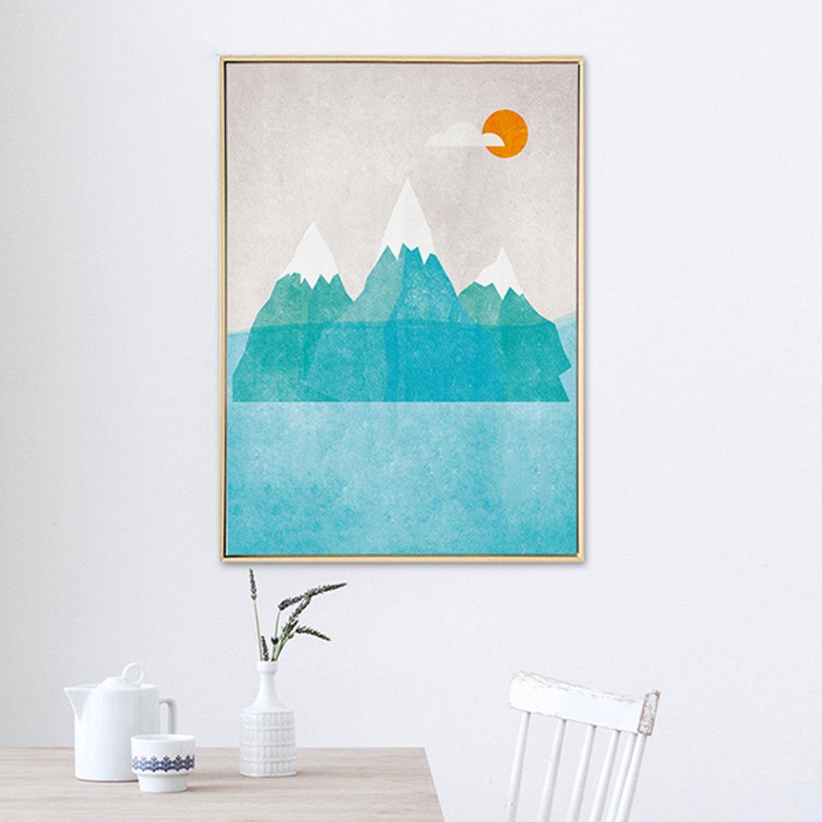 Postercity - Design Canvas Poster Gekleurde Berg Landschap / Kinderkamer / Muurdecoratie / 40 x 30cm / A3 kopen