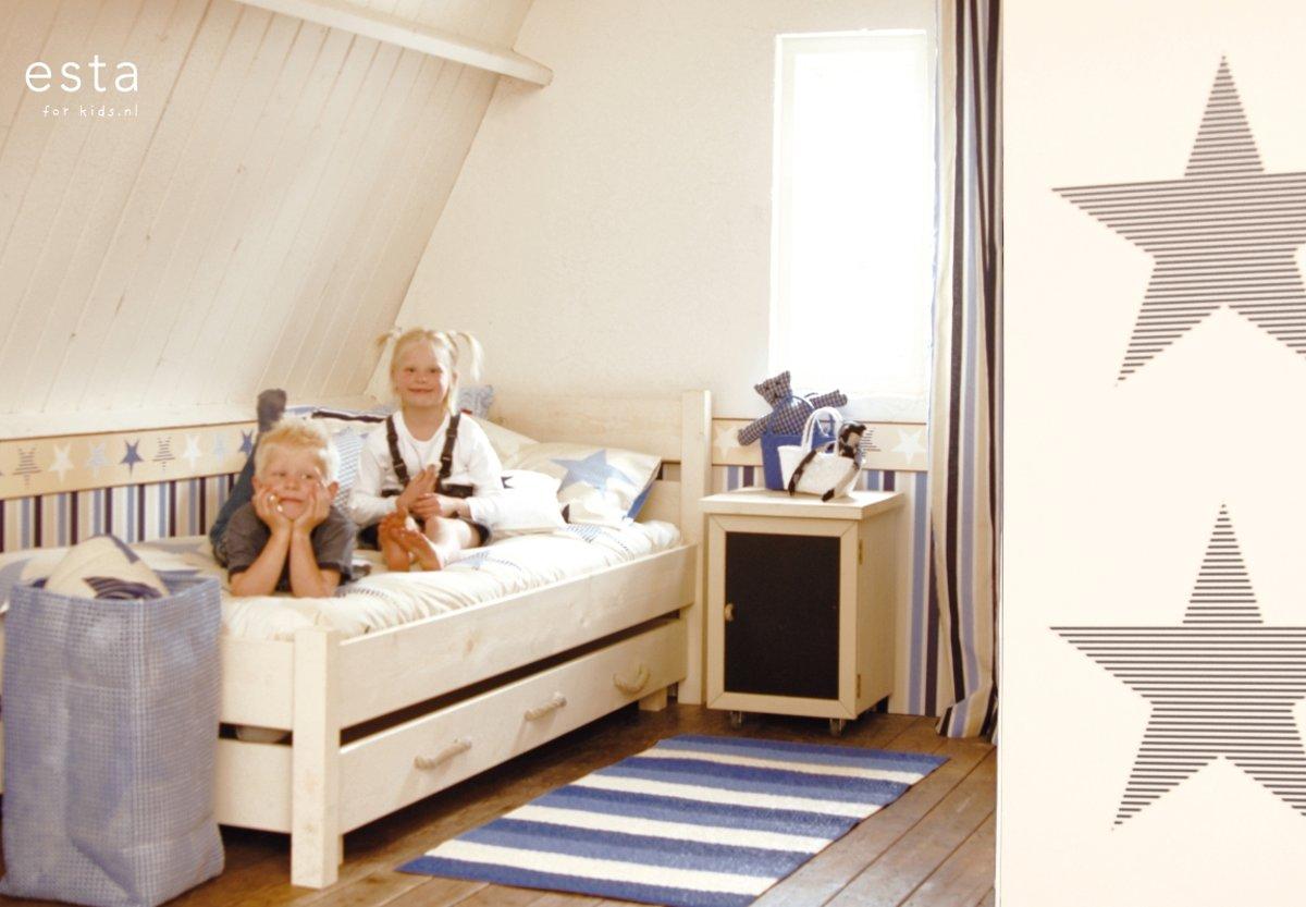 Babykamer Behang Sterren : Bol behang rand sterren beige en blauw van estahome
