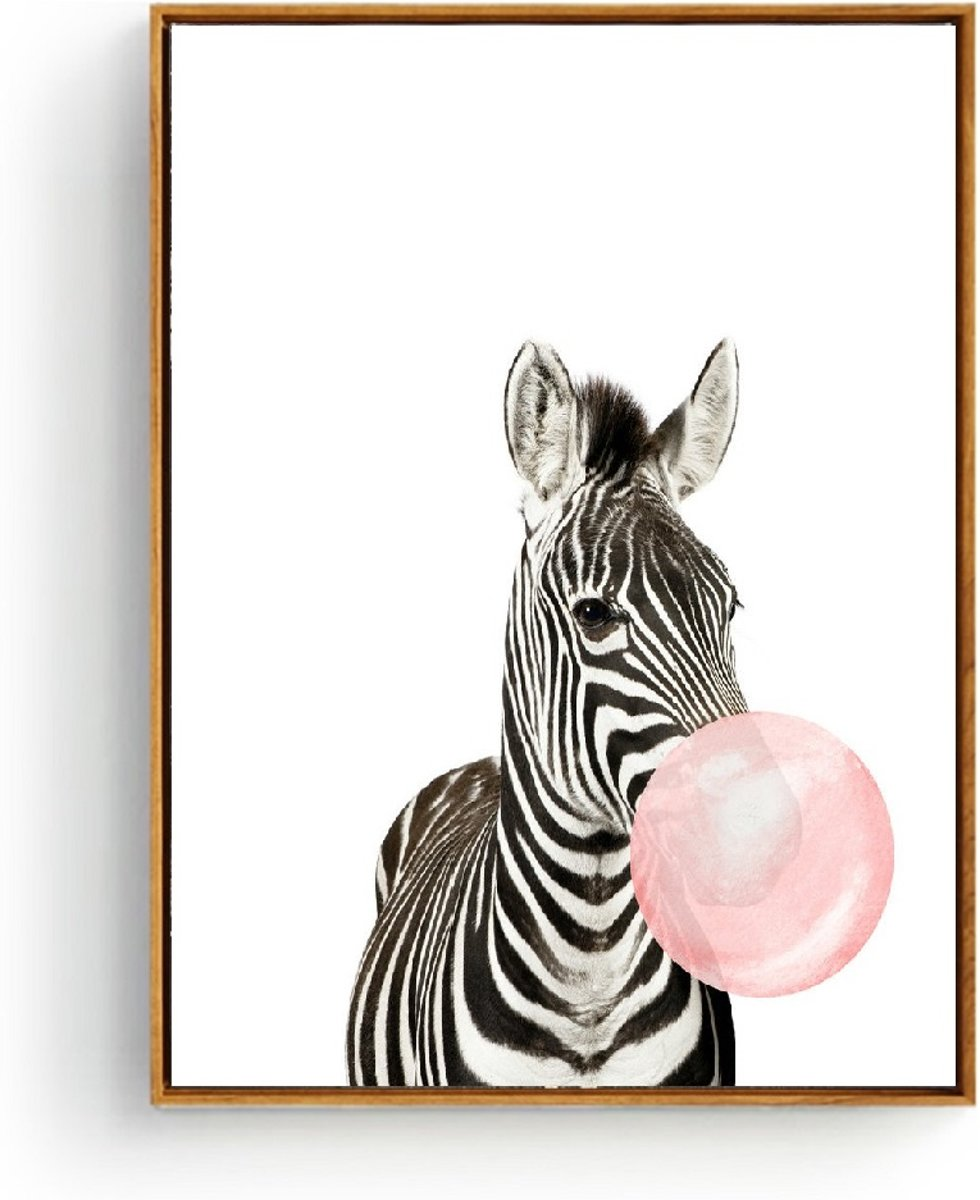 Postercity - Design Canvas Poster Zebra met Kauwgom / Kinderkamer / Muurdecoratie / 40 x 30cm / A3 kopen