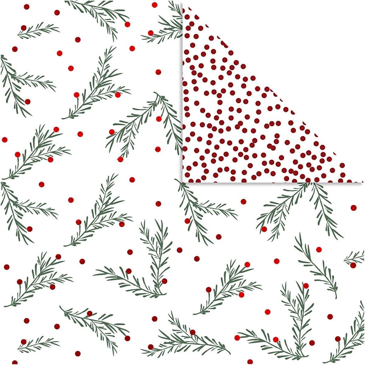 Design papier, vel 30,5x30,5 cm,  180 gr, groen, wit, goud, rood, tak en stippen, 3vellen [HOB-25338] kopen