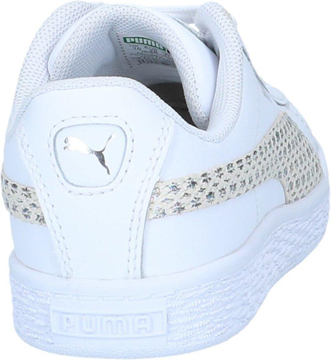 4dbffe7671d bol.com   Puma Meisjes Sneakers Basket Chameleon - Wit - Maat 29