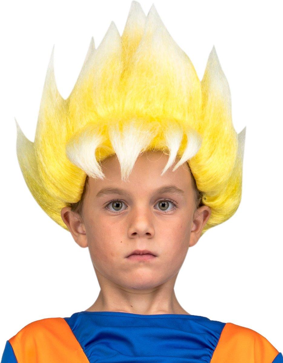 Dragon Ball™ Super Saiyan Goku pruik voor kinderen - Verkleedpruik kopen
