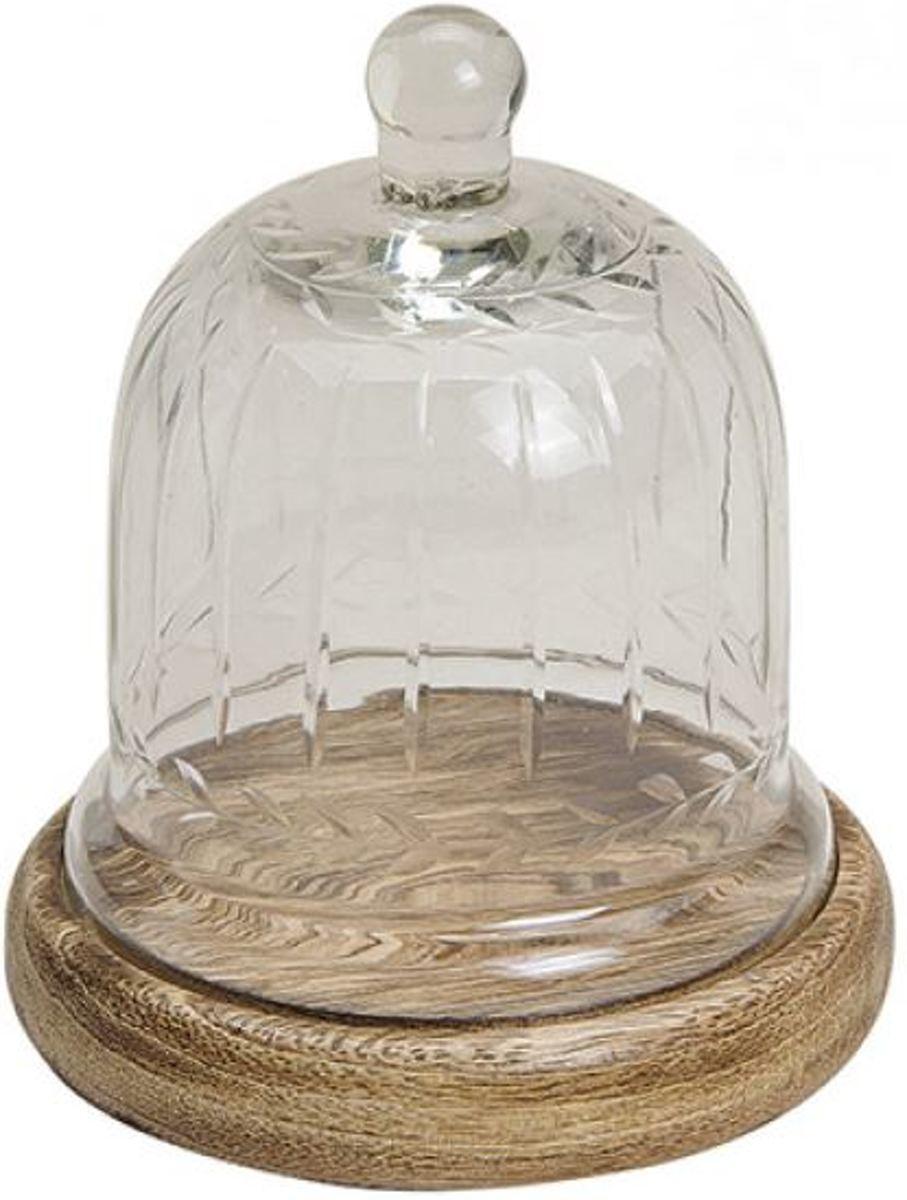 Glazen stolp met mangohouten plateau kopen