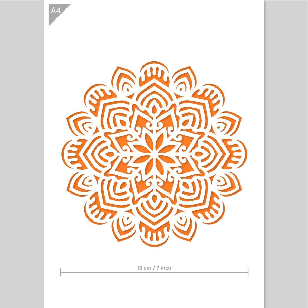Mandala sjabloon - Kunststof A4 stencil - Kindvriendelijk sjabloon geschikt voor graffiti, airbrush, schilderen, muren, meubilair, taarten en andere doeleinden kopen