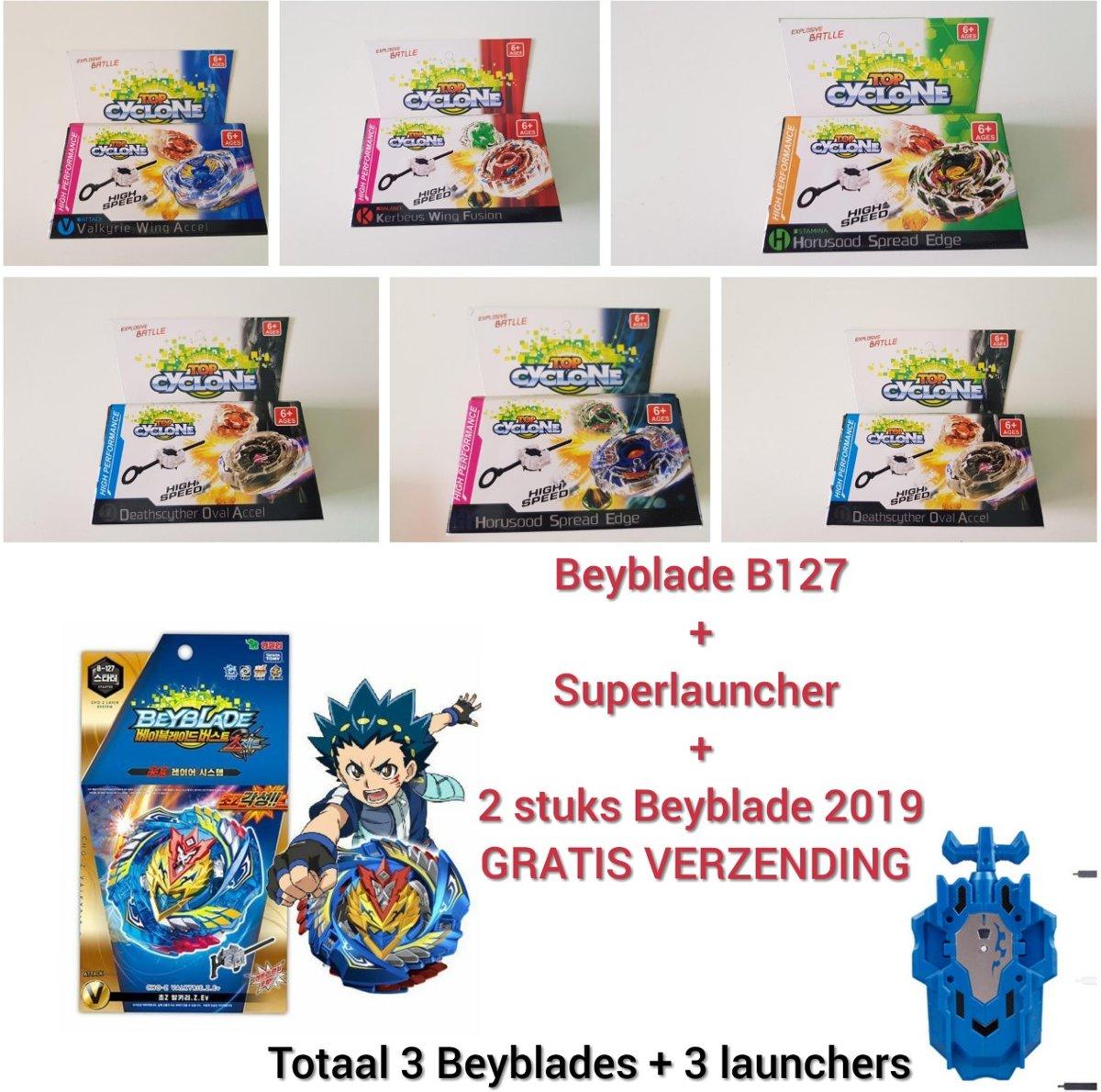 Beyblade SUPER PAKKET Evolution Choz-Z Valkyrie.Z met turbo launcher en 2 TOP CYCLONE BEYBLADES( GRATIS VERZENDING)