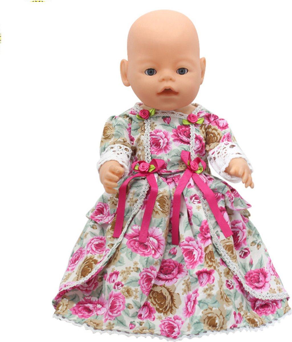 c1fa16c200f7f4 Japanse jurk voor babypop zoals Baby Born - Prachtig jurkje voor pop met  roosjes en strikken