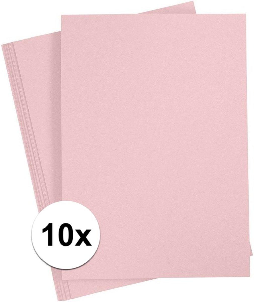 10x Lichtroze A4 vel 180 grams - hobby karton kopen