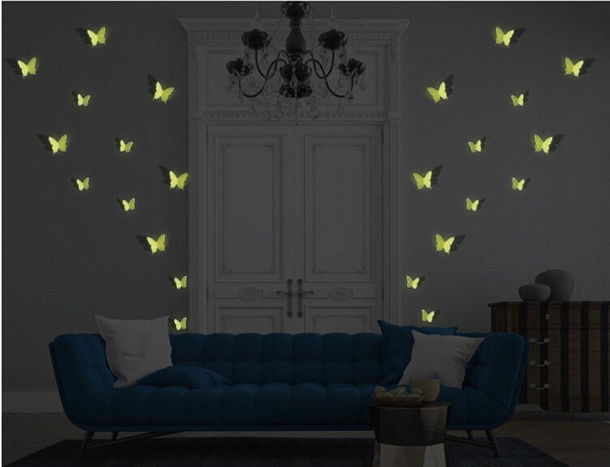 Bol.com lichtgevende glow in the dark 3d vlinders decoratie muur