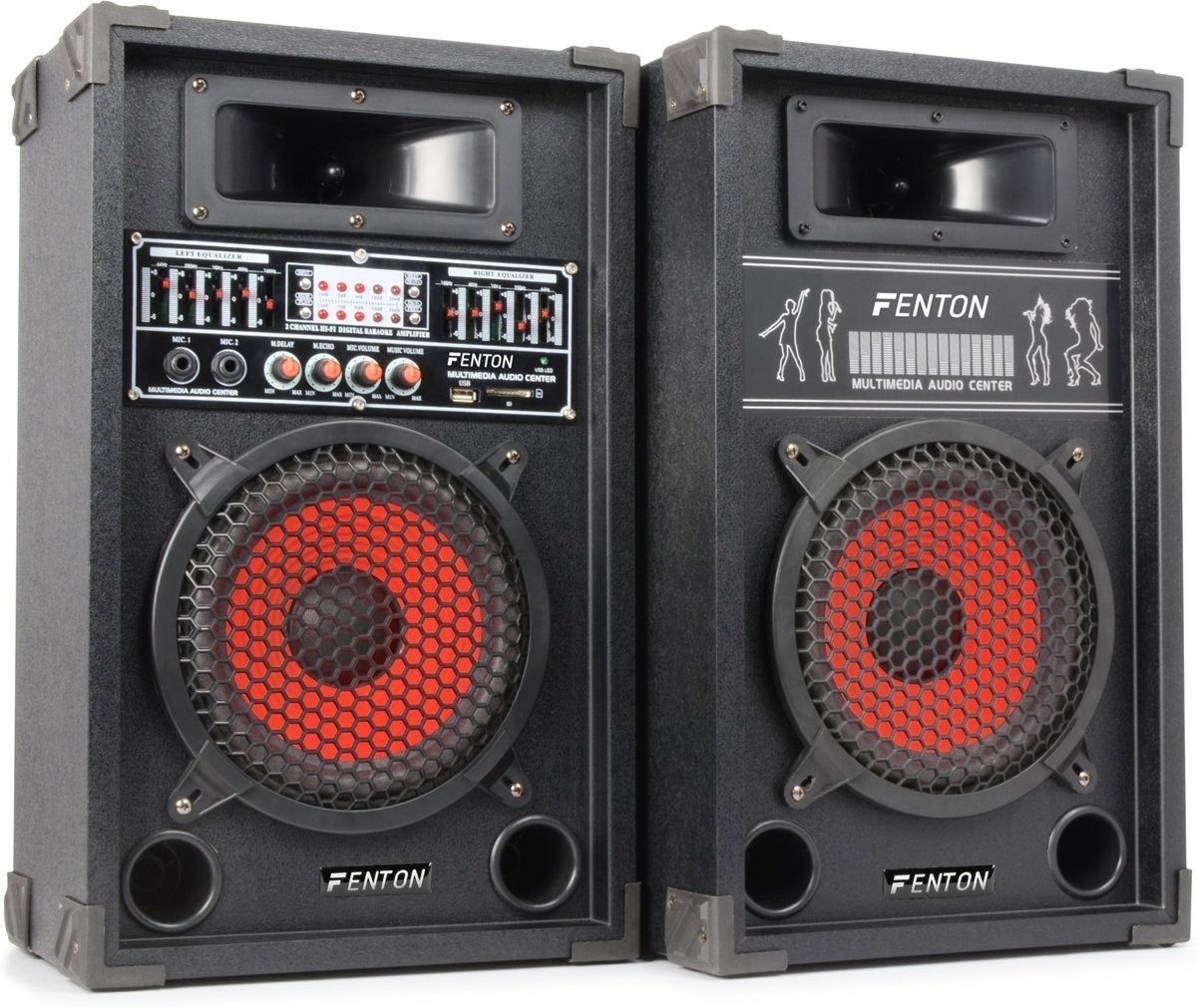 Skytec SPA-800 - PA Karaoke Actieve Speakers 8 inch - 2 stuks - Zwart kopen