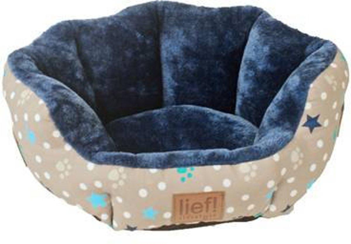 Lief! Kattenmand Boys Ovaal Beige/Blauw - 46.5X36X18 CM