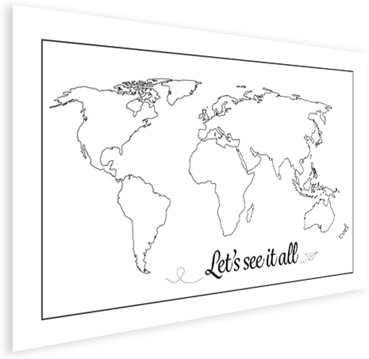 Wereldkaart Zwart Wit - Spreuk - Tekst - Poster groot 120x90 cm - Wereldkaarten.nl kopen