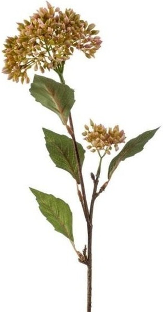Vetkruid kunstbloem tak groen/oranje62 cm kopen