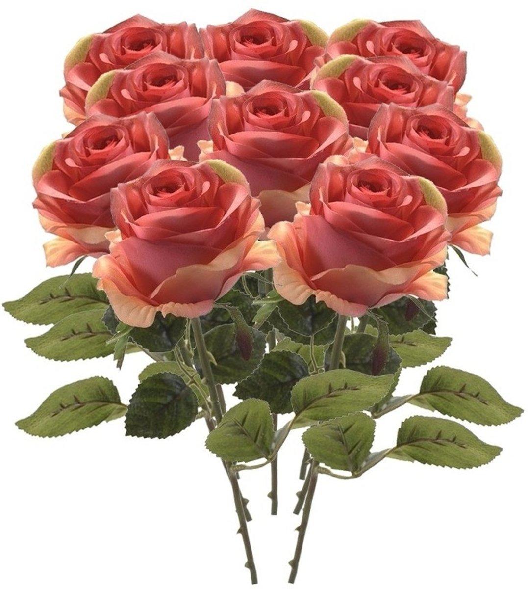 10x Rose Roos steelbloem 45 cm - Kunstbloemen kopen