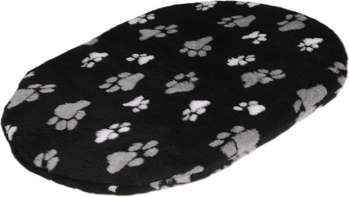 Bench Met Kussen : Bench hondenmand kussen teddy zwart 2 voetprint 77 cm ovaal