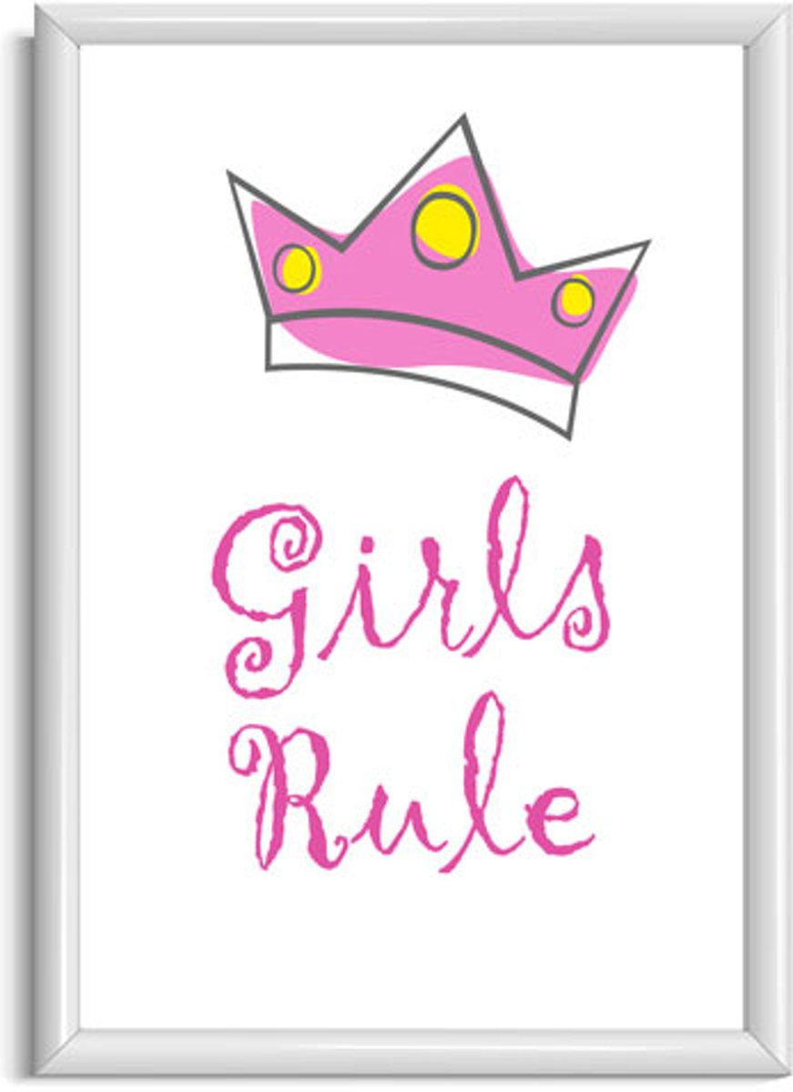 Kinderkamer poster meisje - Tekstposter kinderkamer - Girls rule met kroontje - Meisjesposter A4 kopen