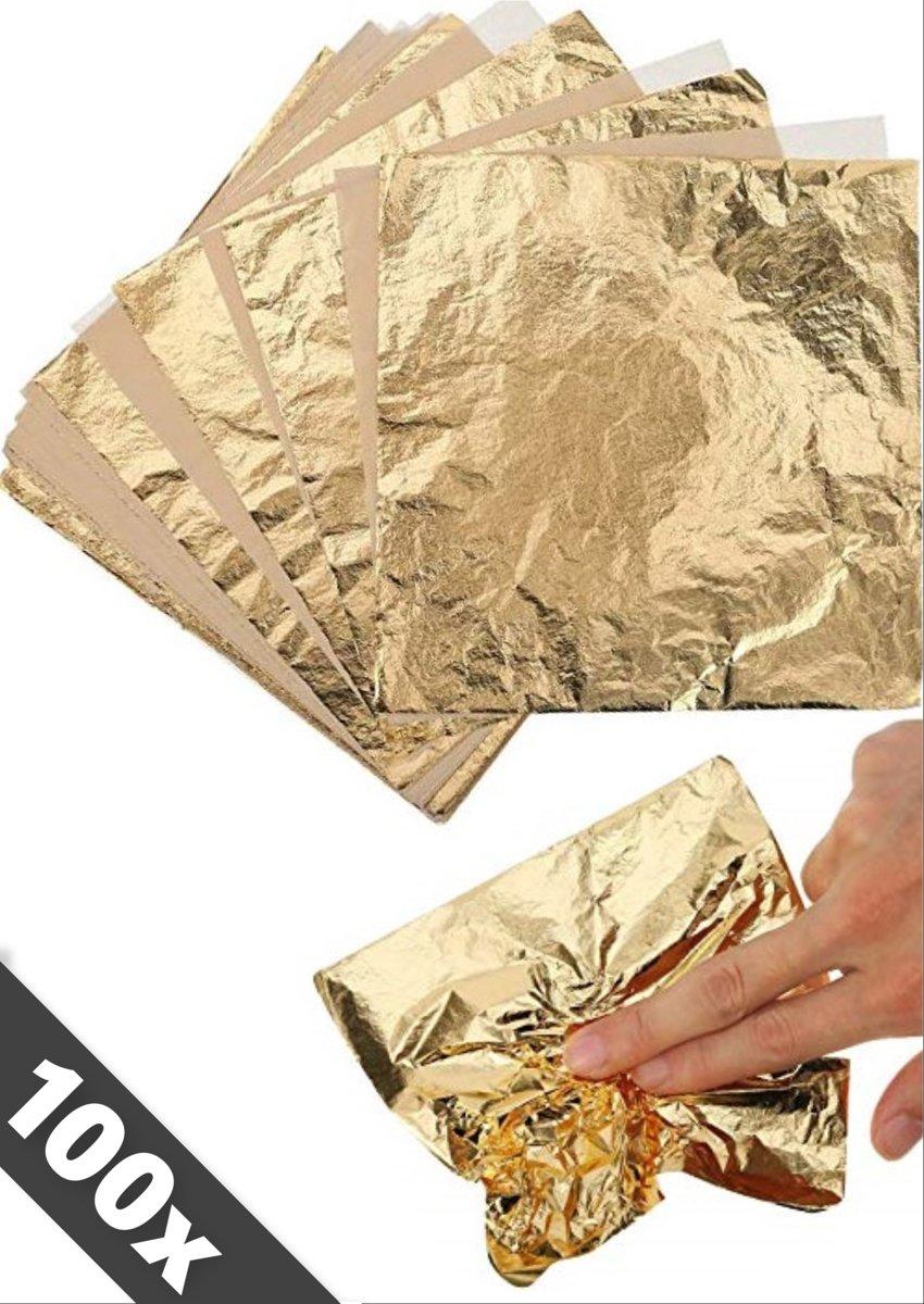Imitatie Bladgoud - Gold leaf - Bladmetaal - GOUD - 100 vellen – 16x16cm - Gratis verzending kopen