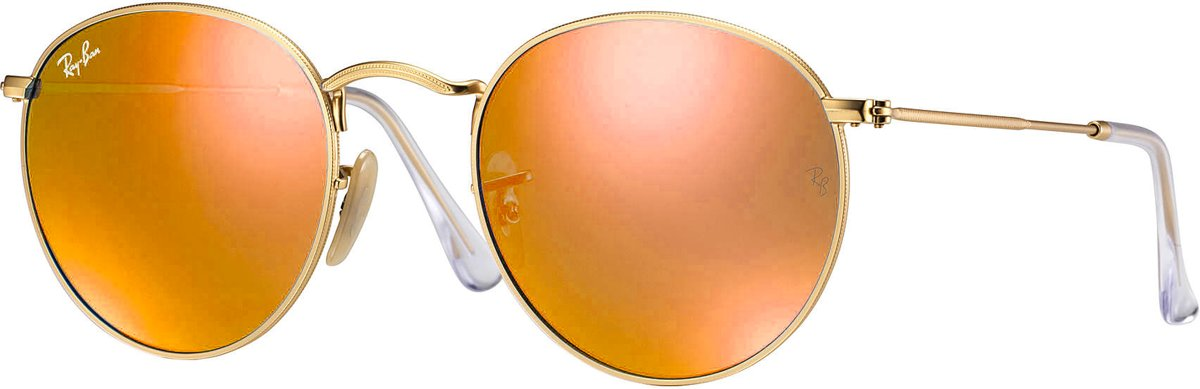 Ray-Ban RayBan Round Flash Lenses - goud montuur met oranje gespiegelde lenzen - 50 mm - RB3447 112/69 50-21
