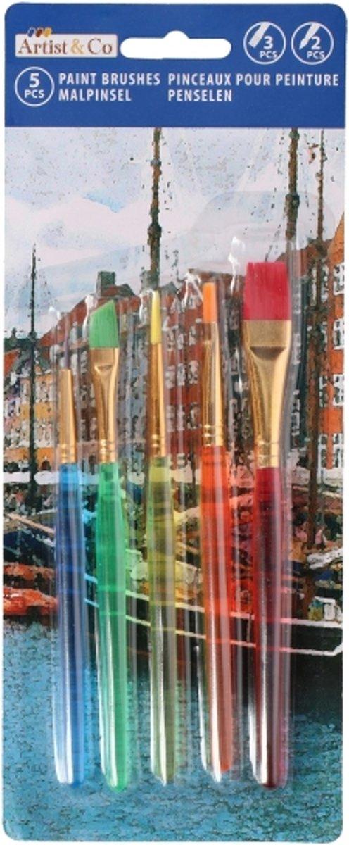 Kinder schilder penselen/kwasten 5 stuks - hobby artikelen voor kinderen kopen