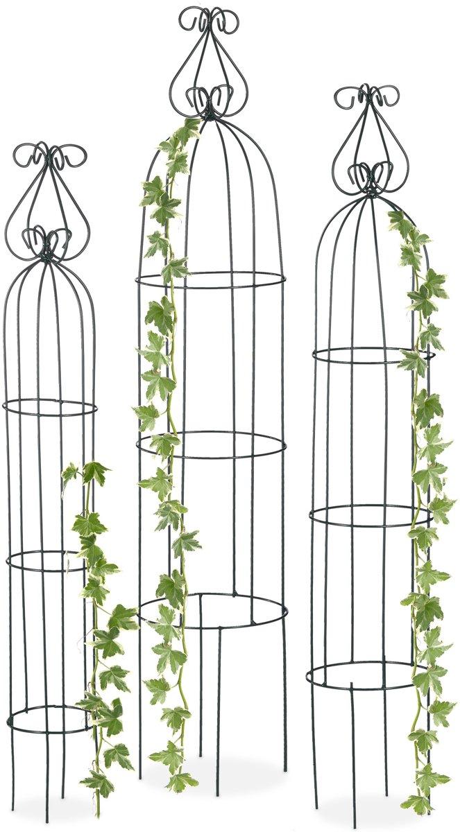 relaxdays rankhulp - obelisk - plantensteun - set van 3 stuks - klimplantensteun - metaal