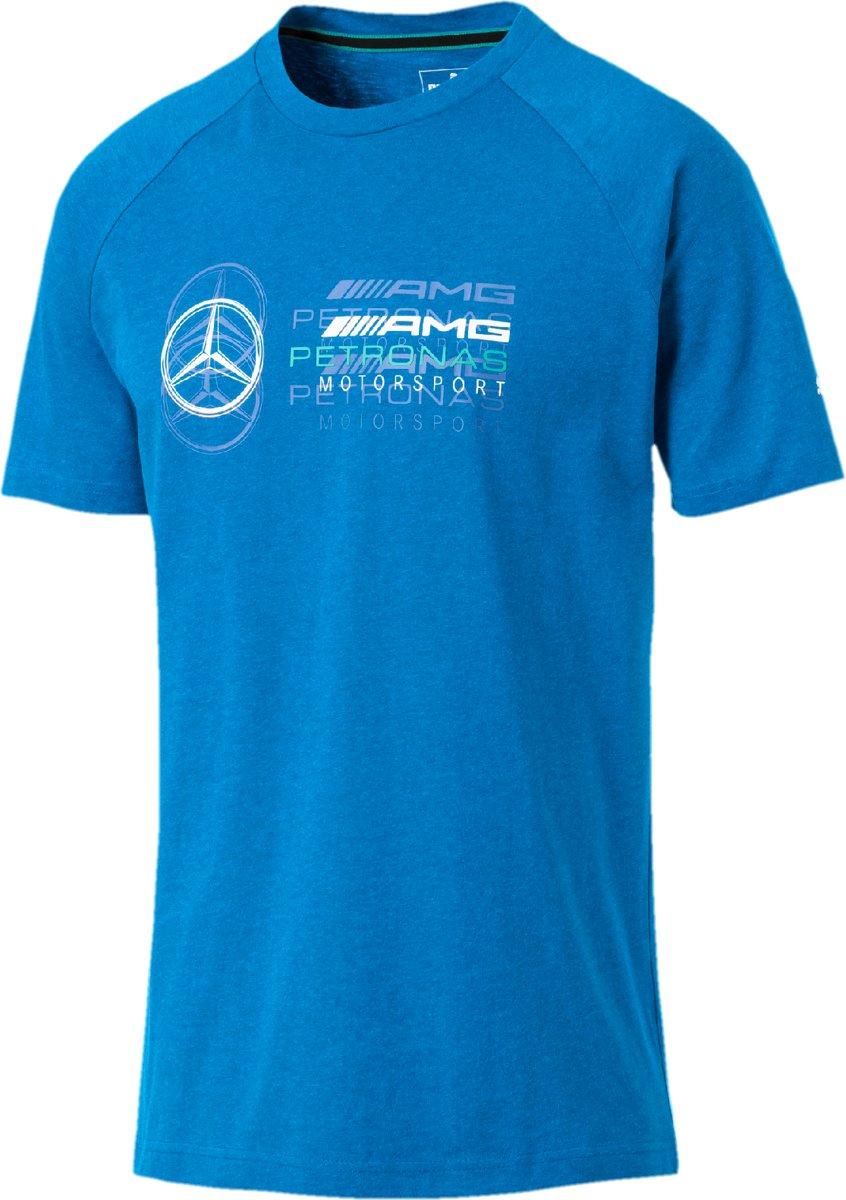 PUMA Mercedes AMG Logo Tee Shirt Heren - Indigo Bunting Heather
