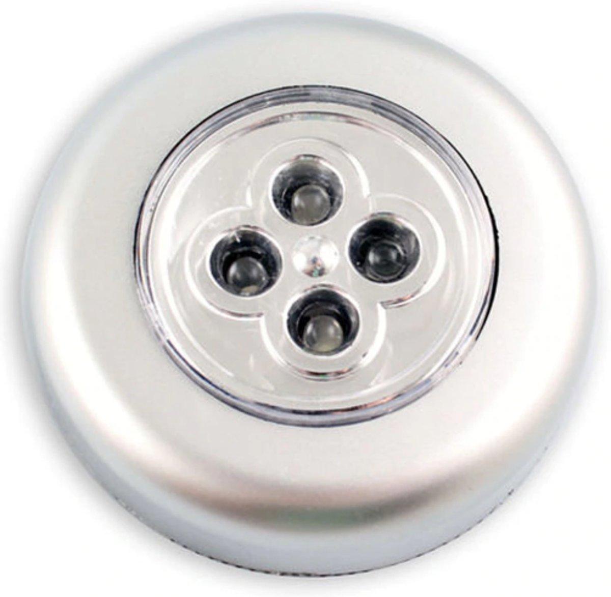 Stijlvolle zelfklevende druklamp met 4 LED's - Zilver - Felle mini spot - Push light - Draadloos kopen
