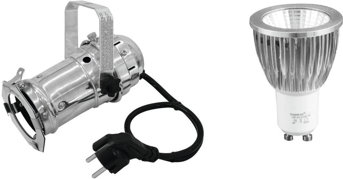 EUROLITE Set PAR-16 Spot zwart + GU-10 230V COB 7W 3000K LED Par - LED Par kopen