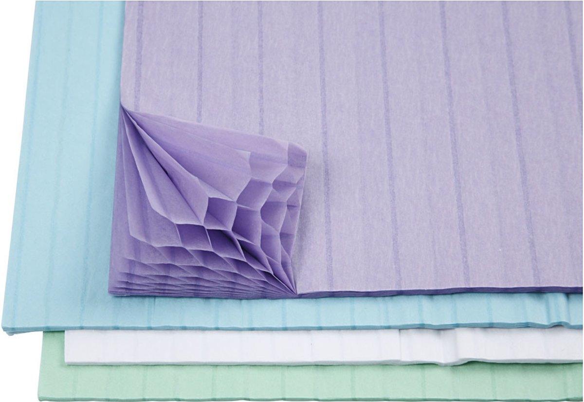 Harmonica papier, vel 28x17,8 cm, lichtblauw, groen, wit, paars, 8div vellen [HOB-204940] kopen