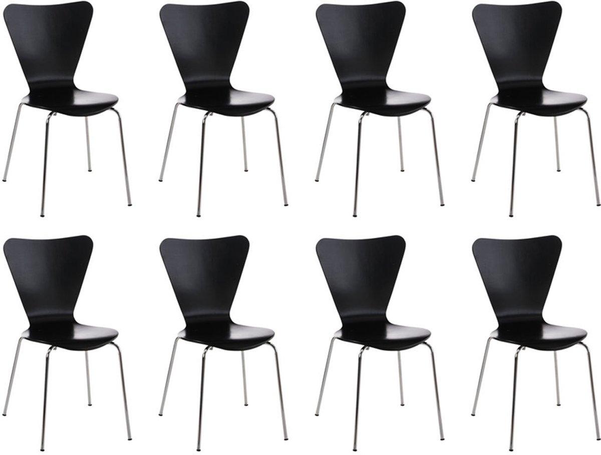 Clp 8x robuuste en gemakkelijk te onderhouden stapelstoel CALISTO, ergonomisch gevormde stoel, bezoekersstoel, wachtkamerstoel, stevig chromen frame, stapelbaar, - zwart kopen