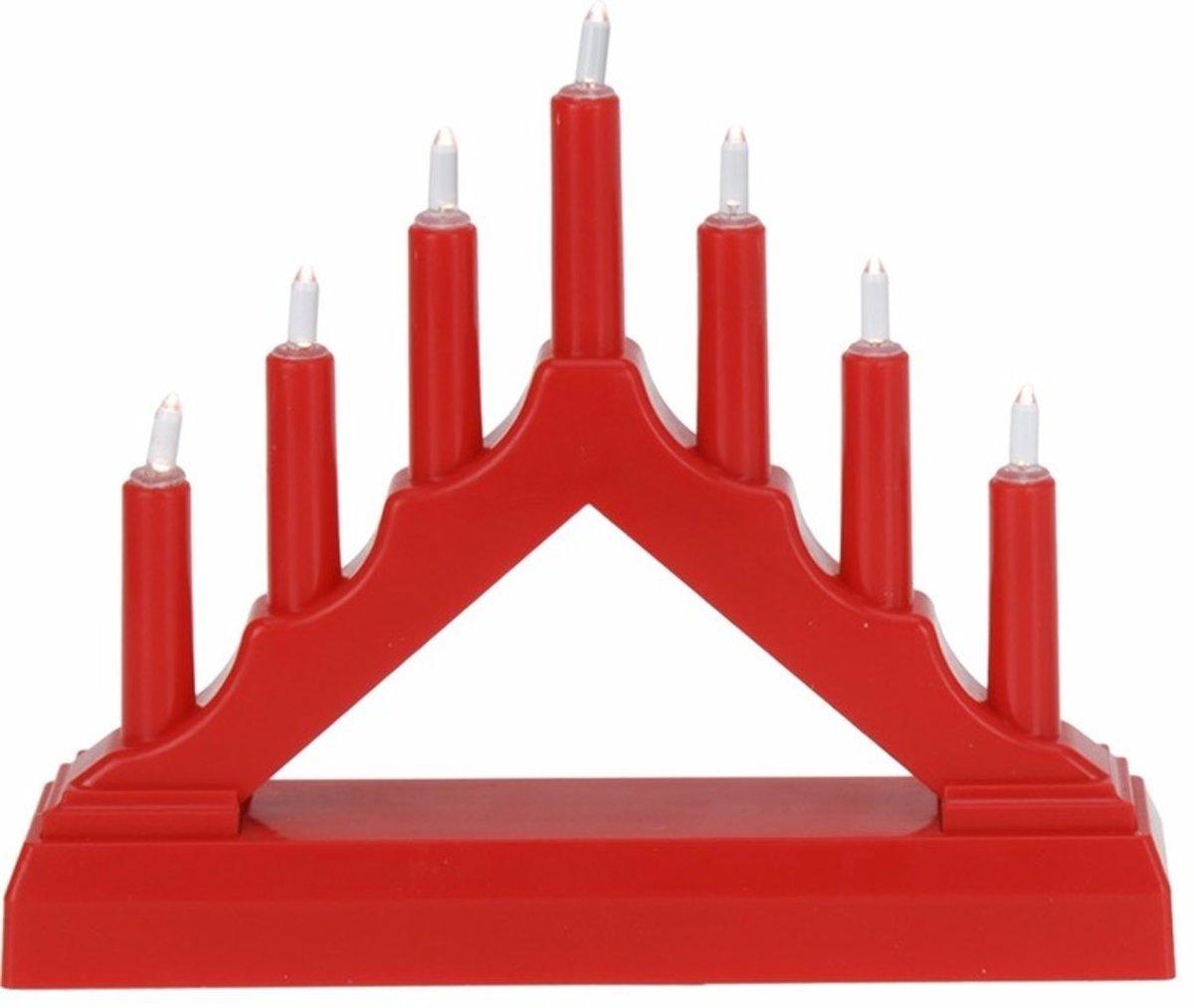 Kerst rode kaarsenbrug met LED lampjes kopen
