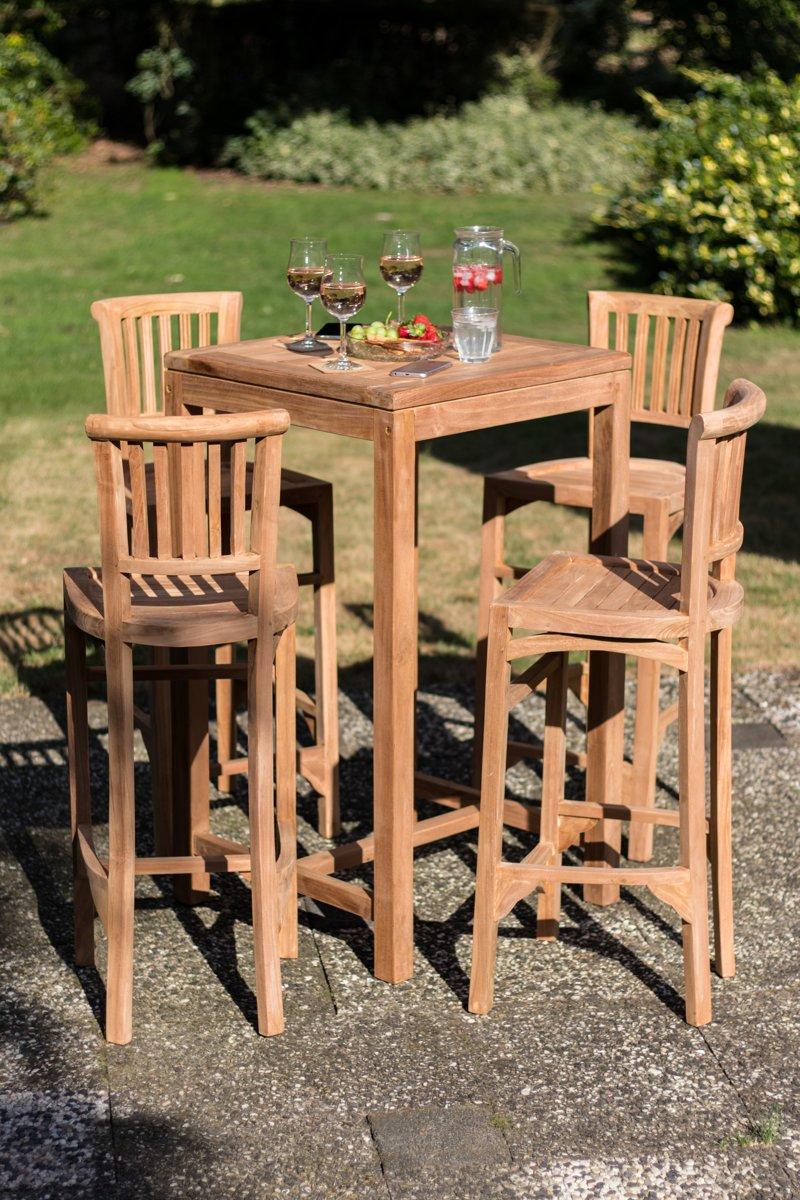 Teak houten tuinset - bistro set met 4 stoelen kopen