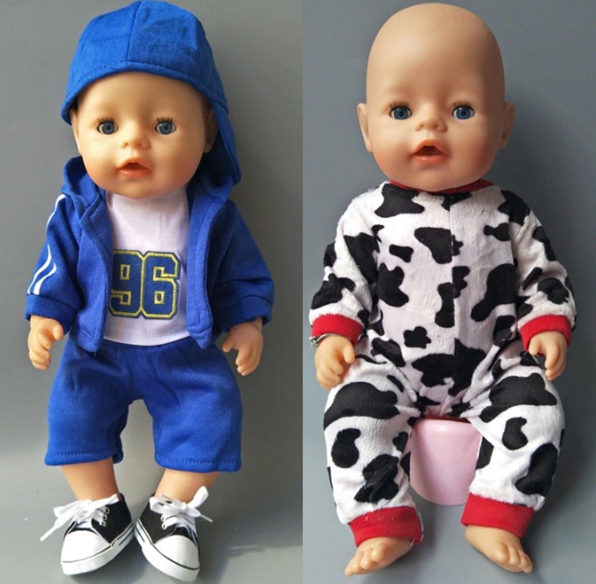 Poppenkleding, geschikt voor Baby Born pop, Stoer Blauw Pakje + Koe Pyjama - Jongen