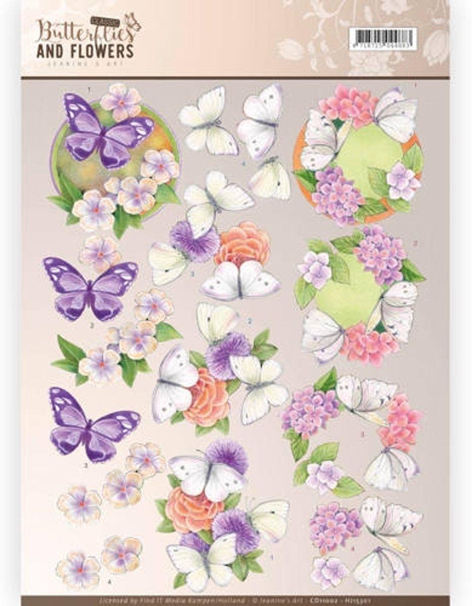 3D Knipvel - Jeanine's Art -  Classic Butterflies and Flowers - Paarse Bloemen kopen